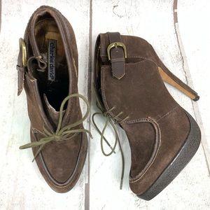 "CHARLES DAVID Brown lace up 5"" heel booties 81/2"